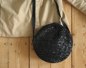 Vintage 80s Sequin Handbag Sequined Round Bag in Black Sparkly