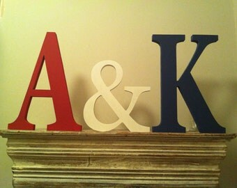 Wooden Wedding Letters - Hand Painted any colour to match your Big Day, 20cm and 15cm. Personalised, various finishes and colours.