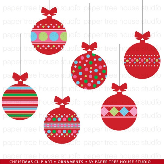 Clip Art Set - Christmas Ornaments - Red Ball Ornaments with Bows - 14 ...