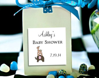 25 ELEPHANT & GIRAFFE Baby Shower Favor Stickers. 2 inches by 2 inches.  Price includes personalization and printing.