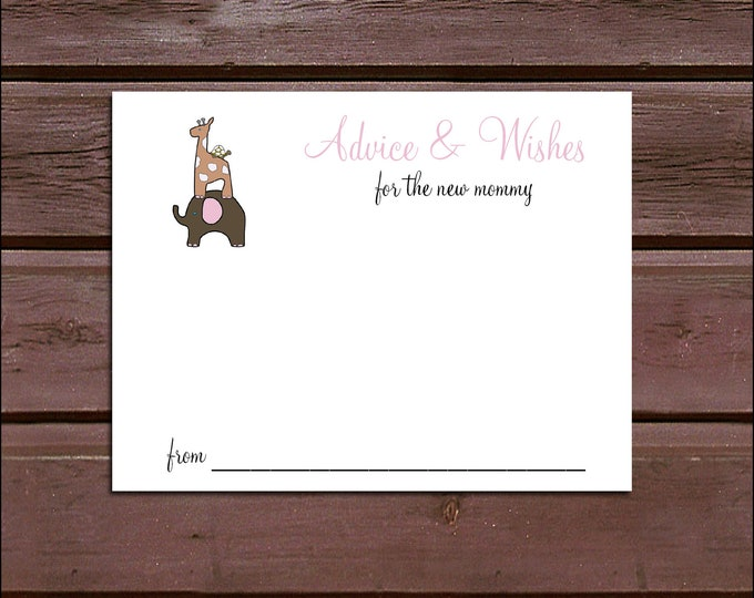 25 ELEPHANT & GIRAFFE Baby Shower Advice and Wishes.  Includes printing.