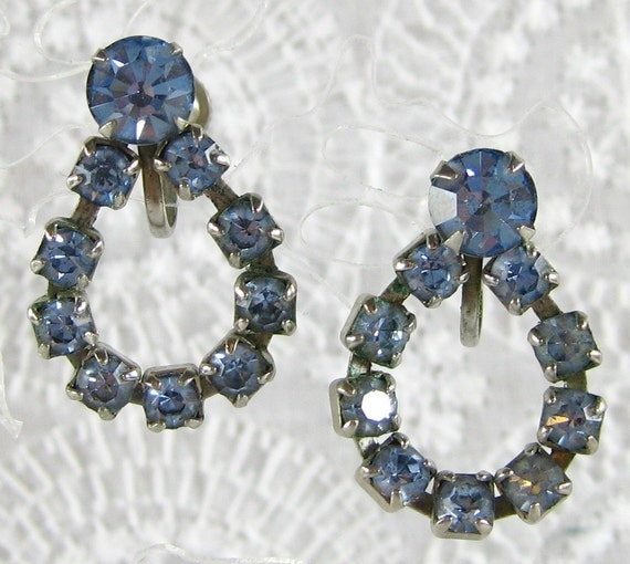 Vintage Rhinestone Earrings, Blue Crystals, Drops Hoops, Screw-backs, 1940s Retro, Hollywood Regency, Wedding Bridal Jewelry