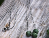 Olive Green Lampwork and Sterling Silver Necklace -- We Don't Need Diamonds
