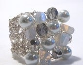 White Cocktail Ring. Knitted Wire Ring With Moonstone Gemstones,