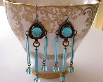 Blue Chandelier Earrings, Dangle Earrings, Blue Earrings, Turquoise Blue Earrings, Lightweight, Blue Orb, Bohemian Romantic Rustic Earrings
