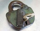 Antique Adlake Lock and Brass Key