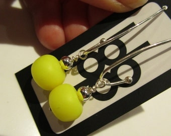 fluoro acid neon electric yellow and sterling silver colour block polymer clay fashion earrings
