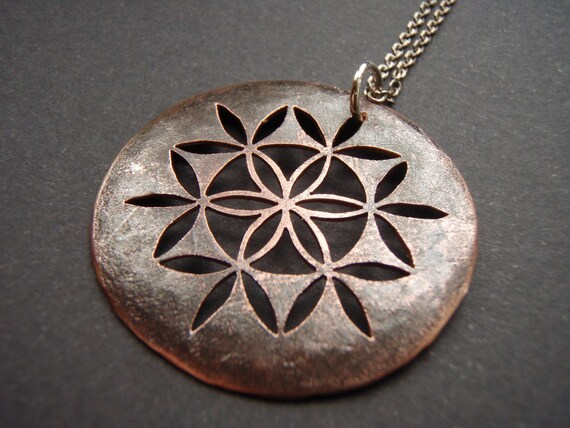 Oxidised Copper Flower of Life Pendant - on sterling silver chain