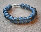 Recycled Glass Bracelet, Soft Black Rustic African Glass and Brass Beads, Magnetic Clasp