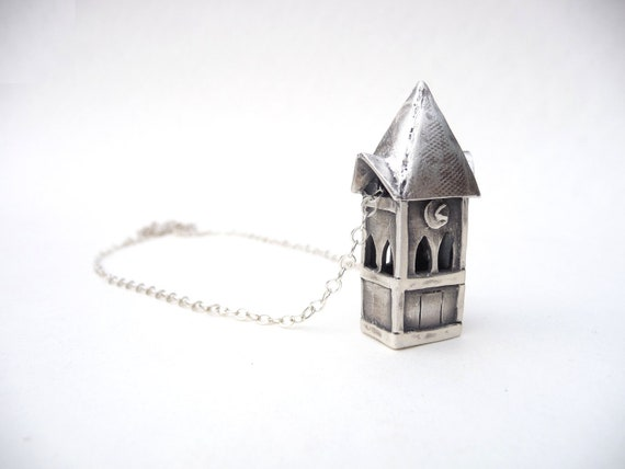 Haunted Halloween miniature clock tower necklace made with recycled silver by Dream of a Dream