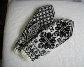 Handknit Black and White Selbu Mittens