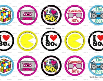 """15 Awesome 80's Digital Download for 1"""" Bottle Caps (4x6)"""