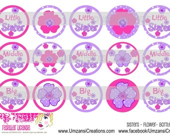 "15 Sisters Flower Digital Download for 1"" Bottle Caps (4x6)"