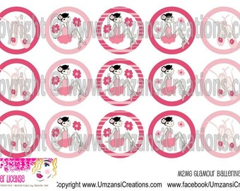 "15 M2MG Glamour Ballerina Girl Digital Download for 1"" Bottle Caps (4x6)"