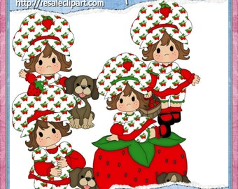 Strawberry Girl Clipart (Digital Download)