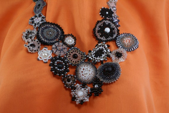 Necklace and earring set- Nocturnal Garden