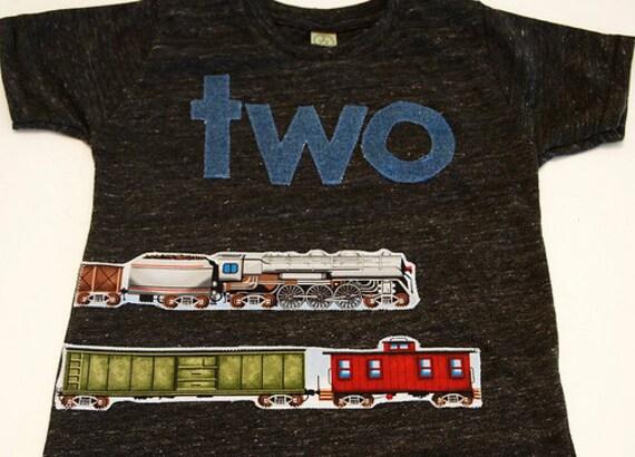 Train Shirt Birthday Tee Organic Blend Black Shirt Train Birthday Vintage train choo choo