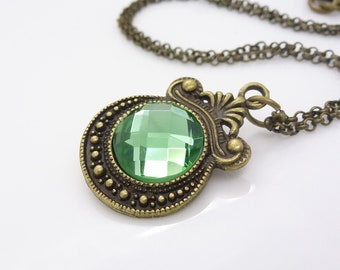 Light green necklace, Gothic necklace, Mint green crystal necklace, Antique bronze Gothic jewelry