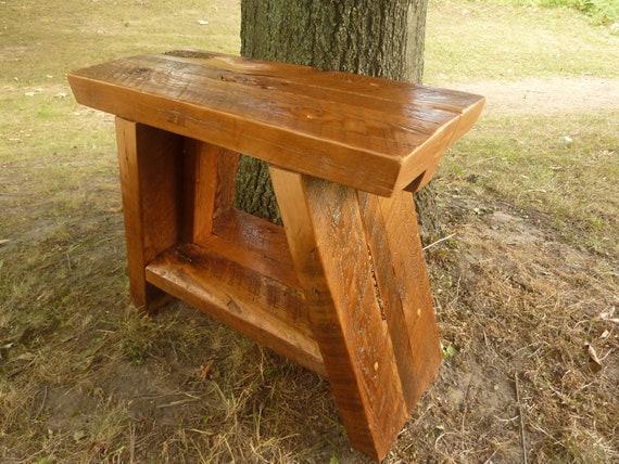 Handmade Barnwood Asian Style Bench meditation table barn wood Lotus Seat