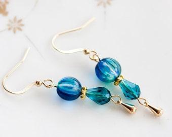 Blue Bead Earrings Teal Crystal Drop Earrings Delicate Deep Sky Blue Teardrop Dangle Earrings - E201