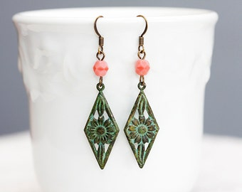 Verdigris Flower Drop Earrings Patina Flower Bohemian Earrings Verdigris Patina Diamond Flower Earrings - E104