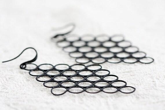 Black Geometric Earrings Large Black Rhombus Charm Geometry Black Earrings Diamond Modern Jewelry - E206