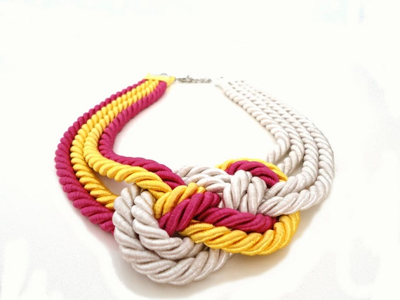 Reserved for Danny - Yellow Pink Off White Nautical Sailor's Knot Rope Infinity Necklace