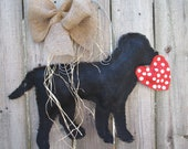 Burlap Door Hanger Black Lab with Heart