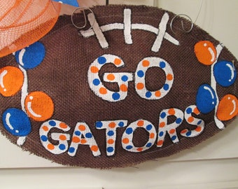 Burlap Football Door Hanger Go Gators