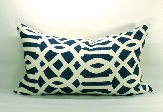 Schumacher Imperial Trellis pillow cover in Navy - 15 x 25
