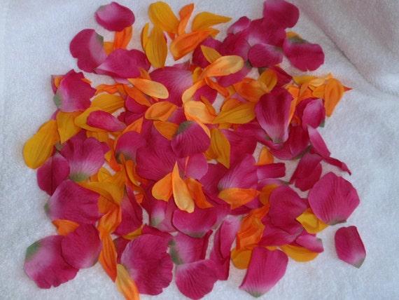 200 Silk Rose Petals BRIGHT PINK & ORANGE Wedding Flower Decorations Party Decorations Bridal