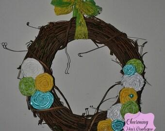Lovely Custom Wooden Personalized Rosette Wreath