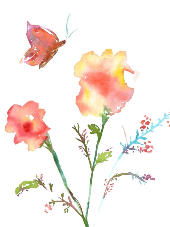 Flowers and Butterfly, Springtime, Watercolor Flowers, Watercolor Butterfly, Watercolor Spring Print