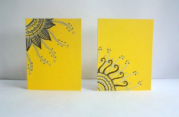 Lemon Yellow Hand Drawn Note Cards -Set of Two- 100% Charity Donation - Envelopes included