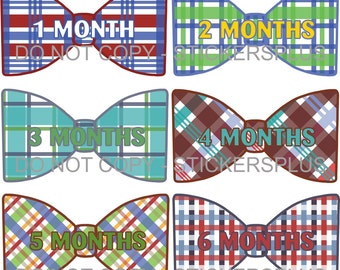 Baby Boy Month Tie Stickers, Monthly Bow Tie Milestone Stickers, Newborn Milestone Bodysuit Stickers, Colorful Madras Plaid Gift