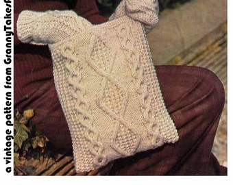 Knit Aran Bag & Shawl 1970s VINTAGE PATTERN, Boho Chic/Folk/Retro/Hipster, Scandi/Irish knit Wrap + Mitts,  Pdf from GrannyTakesATrip 0167