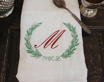 Christmas Towels-3-Flour Sack Towel-Christmas Monogrammed Towel-Dish Towel-Vintage Christmas Decoration-Vinatge Towel-Custom Kitchen Towel