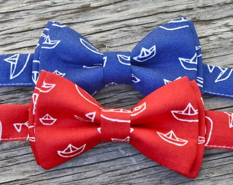 bow tie for baby --Ties for Baby Boys -- Nautical Bow Tie -- for Boys Red or Blue Boats