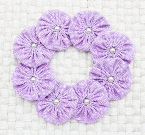 Yoyo Embellishments, Fabric Yoyos Lilac, Flower embellishment, 1.5 inch yo yo, yoyo supplies. Pack of 8 roses,  Lavender Color