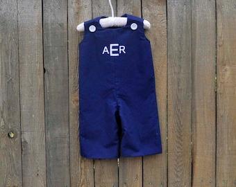 Navy Jon Jon, romper, longalls shortall, many colors, eco-friendly... size 3m,6m,9m,12m,18m,2t,3t