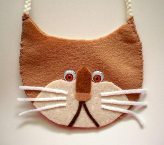 Felted Purse or Handbag - Tan Kitty