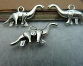 20pcs 12x27mm Antique Silver 3D Dinosaur  Chains/Charm Pendant Bracelets, necklaces, jewelry, pendants, fittings