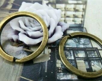 10pcs 30mm  Antique Bronze Vintage key ring /jump rings  ta