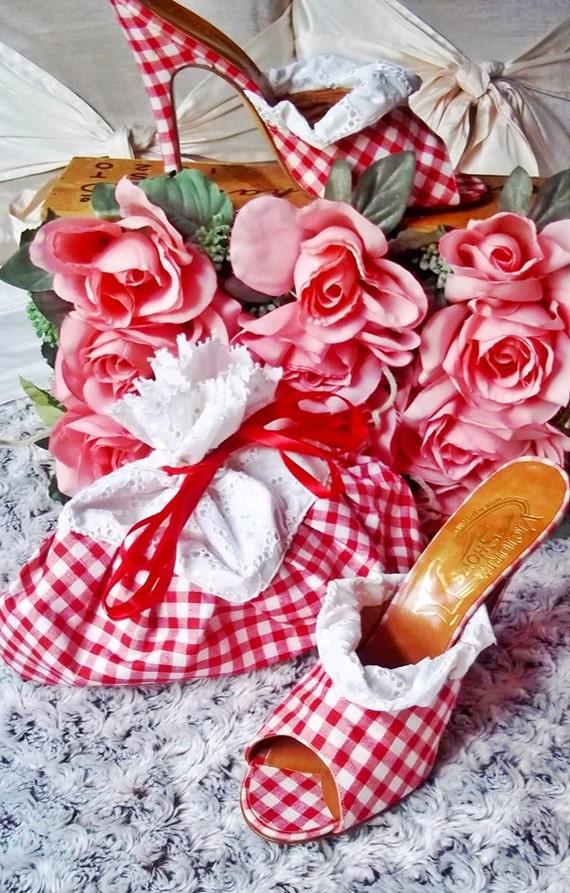Vintage Mules : Super Cute 1980s Red Gingham Mules Shoes & Purse UNWORN
