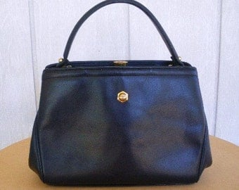 vintage 40s zenith navy leather satchel purse bag