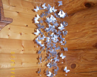 Silver Aluminum Butterfly Mobile