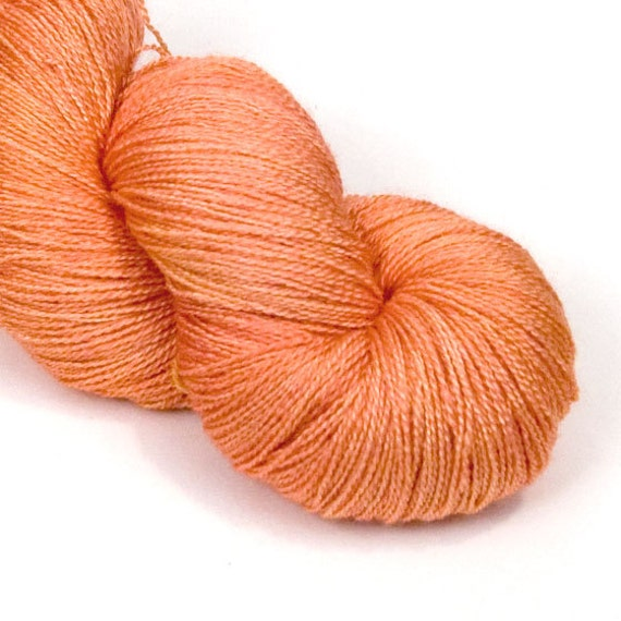 BFL and Silk Lace Heaven Yarn in mandarin Sherbert