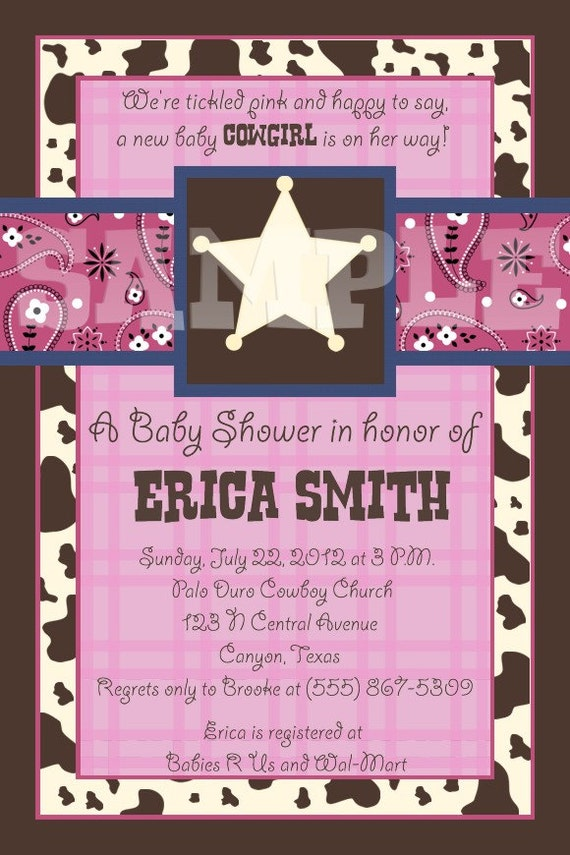 custom lil cowgirl baby shower invitation