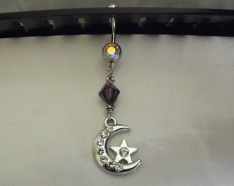 Belly Button Ring, Cosmic Moon And Star  With Rhinestones And Purple Swarovski Bead,  Womens Gift  Handmade