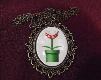 Bronze Pendant Necklace,   Piranha Plant Glass Pendant Necklace Mens Womens Gift  Handmade